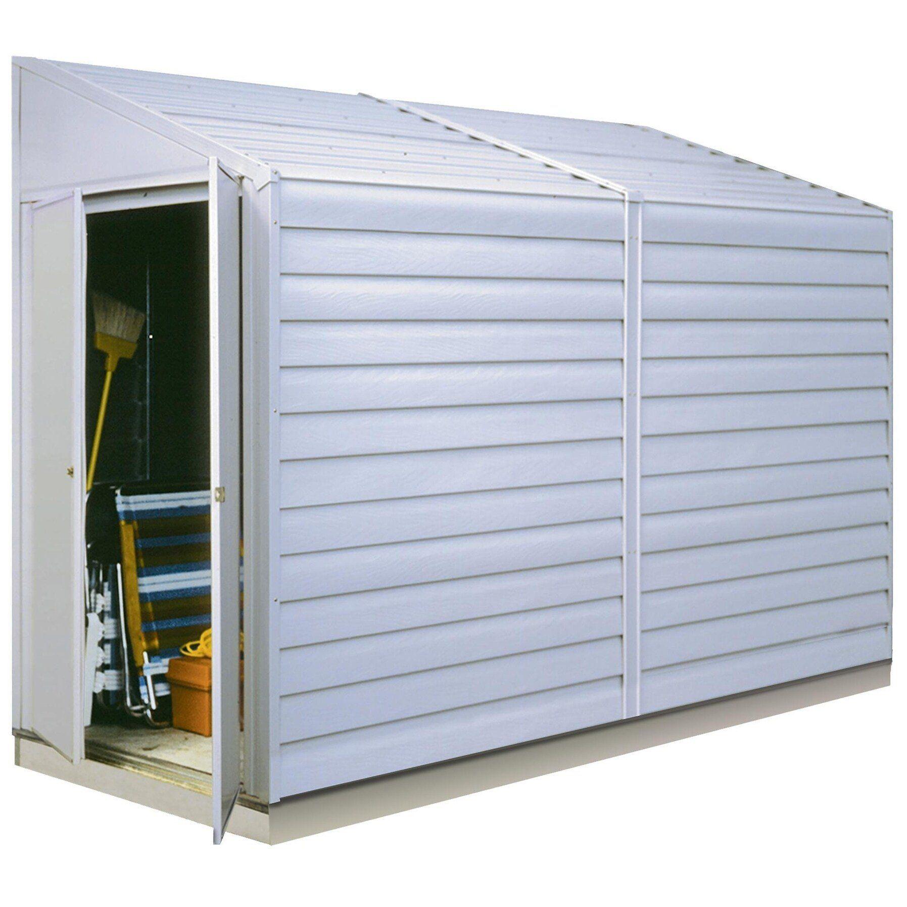 Yardsaver 4 X 10 Ft Steel Storage Shed Pent Roof Eggshell Walmart Com In 2020 Steel Storage Sheds Metal Storage Sheds Outdoor Storage Sheds