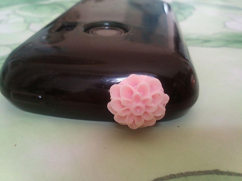 Tappo antipolvere con fiore rosa per jack cuffie 3.5mm universale Android iPhone