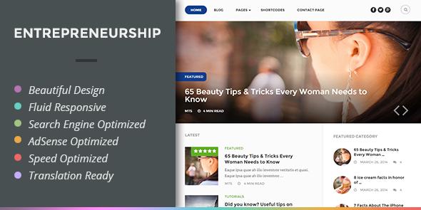 Entrepreneurship #WordPress Google #AdSense Optimized Theme - www.wpchats.com