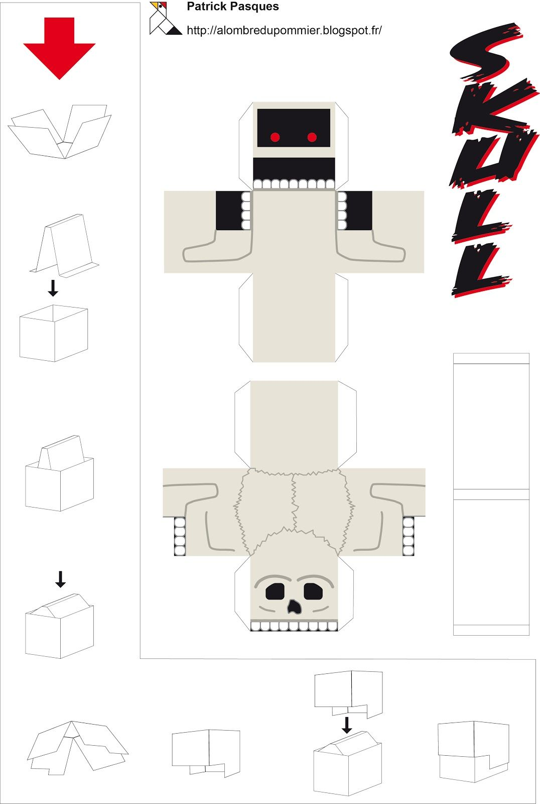 A Lombre Du Pommier Paper Skull Automata Machines Pinterest Halloween Origami Diagram