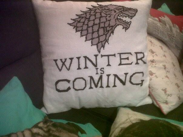 Game of thrones crochet cushion, team stark :)