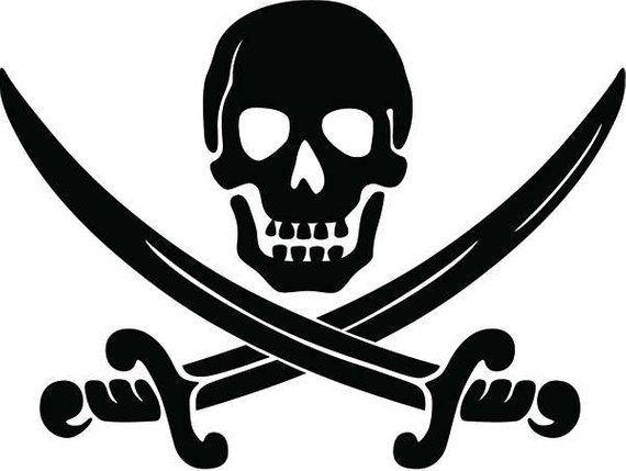 Pirate Skull 2 Crossbones Sword Jolly Roger Ship Boat Boating Sea Ocean Nautical Svg Eps Png Dig Pirate Party Invitations Pirate Tattoo Pirate Party