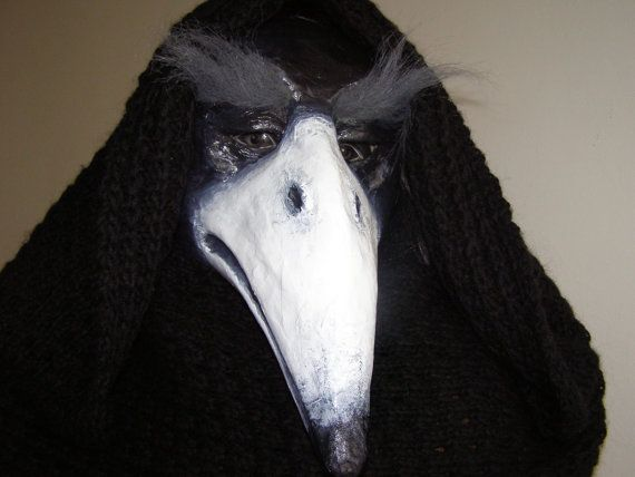 Paper mache mask Crow mask Bird mask Black crow by EpicFantasy