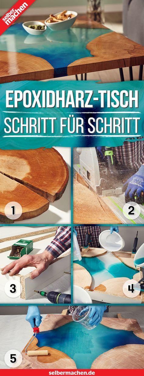 Epoxidharz lässt sich aus dem DIY-Bereich nicht mehr wegdenken. Hier erfährst du, wie man einen Designertisch aus Kunstharz und Holz herstellt! #modernegärten