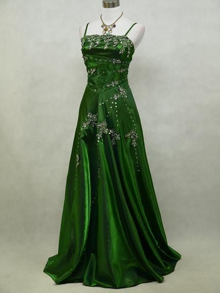 Photo of Satin Dark Green Sparkle Ball/Prom Gown Wedding/Evening Dres…