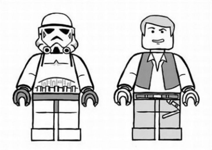 A Stormtrooper And Han Solo In Lego Star Wars Coloring Page Free ...