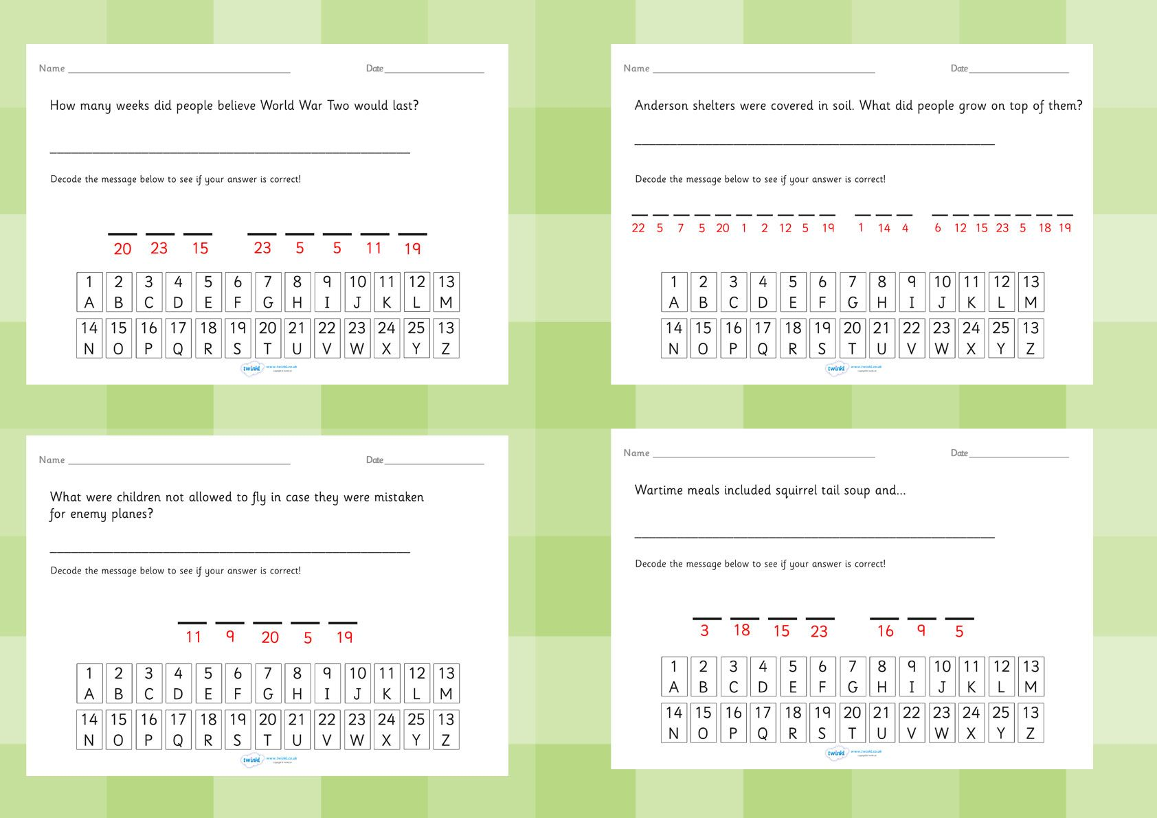 World War 2 Cryptogram Fact Worksheets