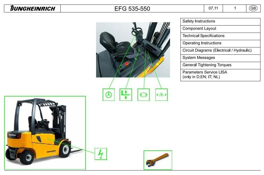 Jungheinrich Electric Lift Truck Efg 535 Efg 540 Efg 545 Efg 550 11 09 08 13 Service Manual Hydraulic Systems Electrical Diagram Lifted Trucks