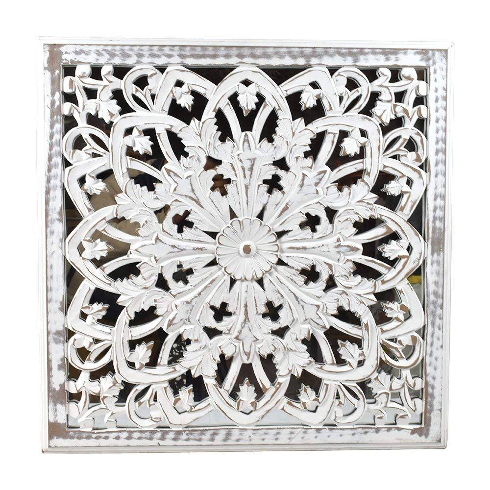 Amazon Com Indian Heritage Wooden Wall Panel 24x24 Carved Mdf Mirror In White Distress Finish Home Kitche Carved Wood Wall Art Mirror Panel Wall Wall Decor