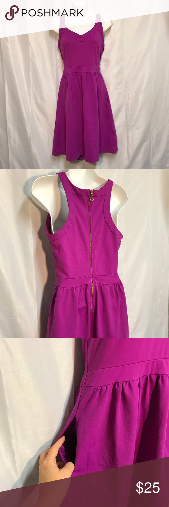 Cynthia Rowley Purple Dress Has Pockets On Each Side Of Zips In The Back Good Condition Size Medium Dresses