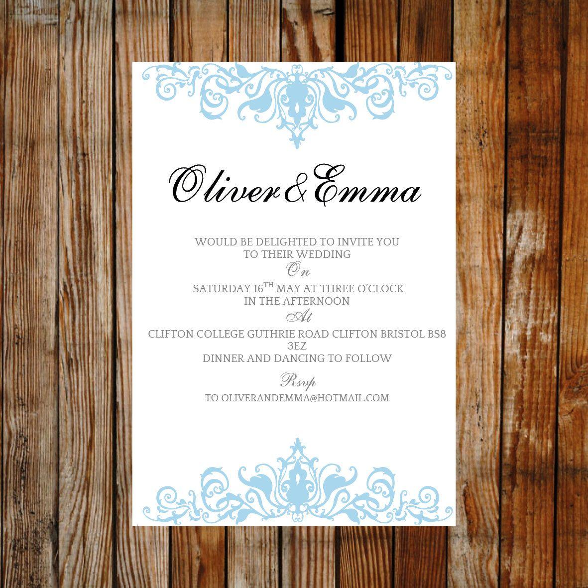 Wedding invite template elegance blue download printable wedding invite template elegance blue download printable microsoft word template diy wedding monicamarmolfo Images