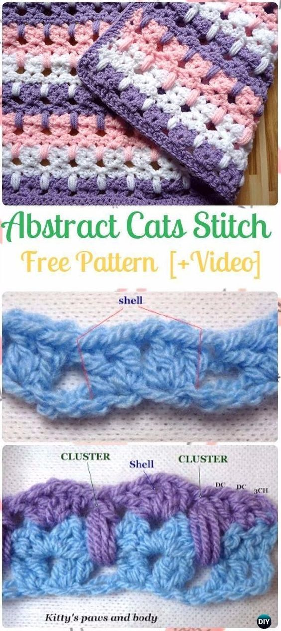 Crochet Kitties in A Row Afgan Free Pattern - #Crochet Abstract Cats ...