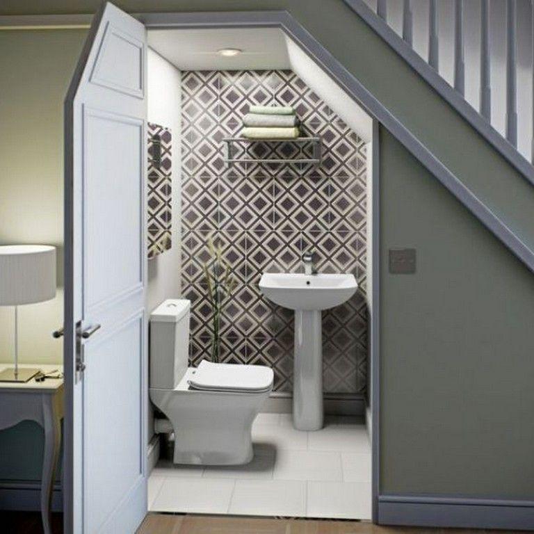 45 Elegant Ideas For Under Stairs Storage Space Staircase Storagespace Staircaseideas Bathroom Under Stairs Room Under Stairs Tiny House Bathroom