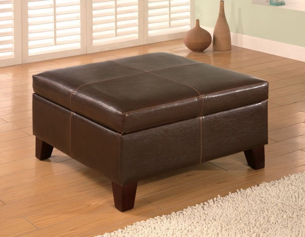 Dark Brown Leather Vinyl Storage Ottoman Wood Coffee Table Home #Delaney