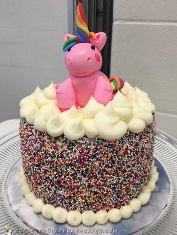 Adorable Pink Unicorn Sprinkle Cake Sprinkles Birthday cake
