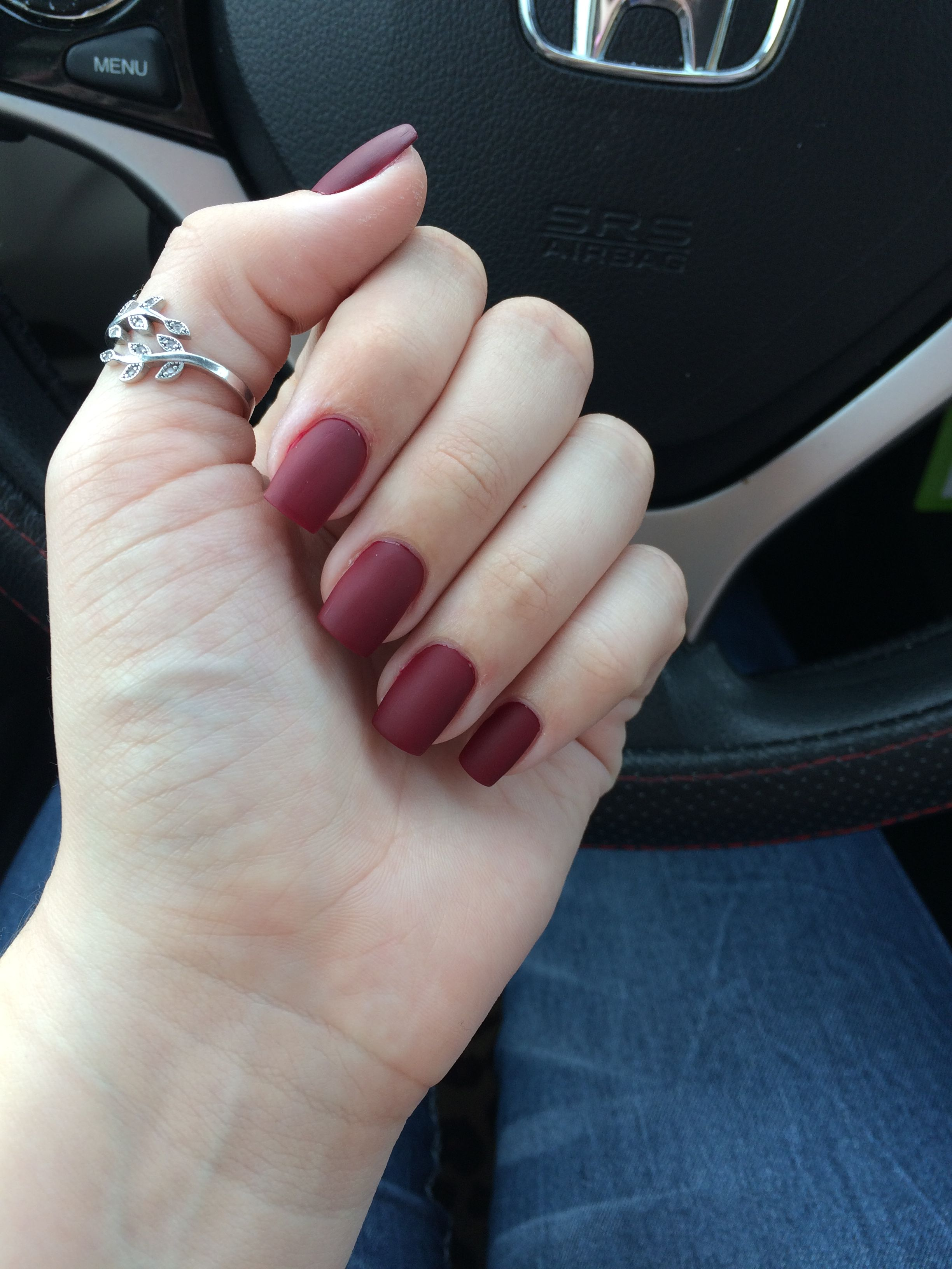 Opi Burgundy Matte Short Square Acrylic Nails