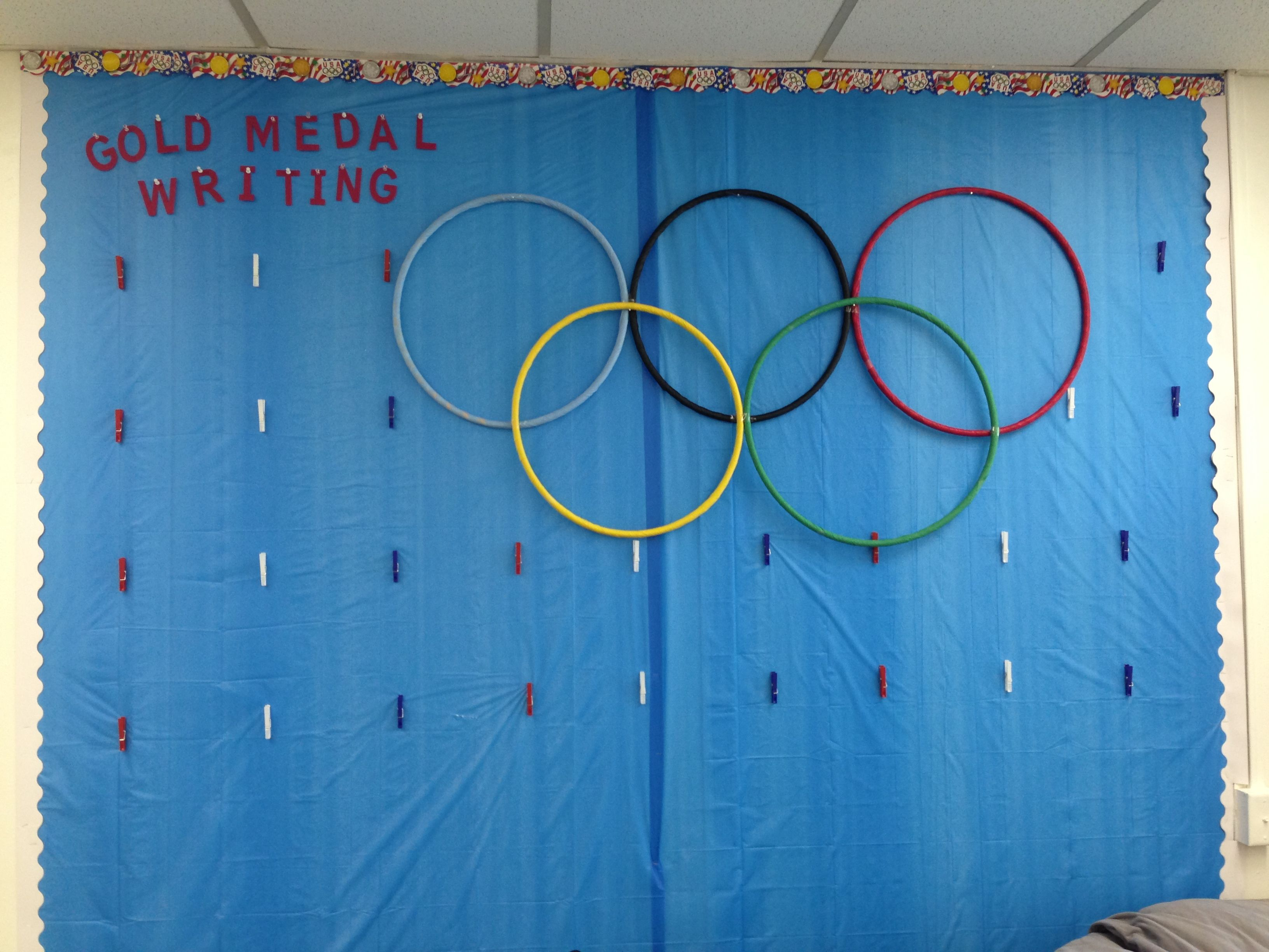 Olympic Writing Wall In Sports Classroom Library