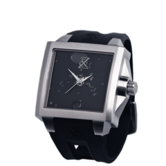 Zanis and Co Mens Watches Black and Silver Floating Diamond Watch featuring genuine pieces of the Moon, Mars and Space Gem