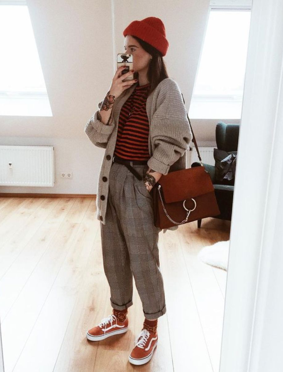 7735d1b7fed red beanie + beige cardigan + red striped shirt + plaid pants + red vans