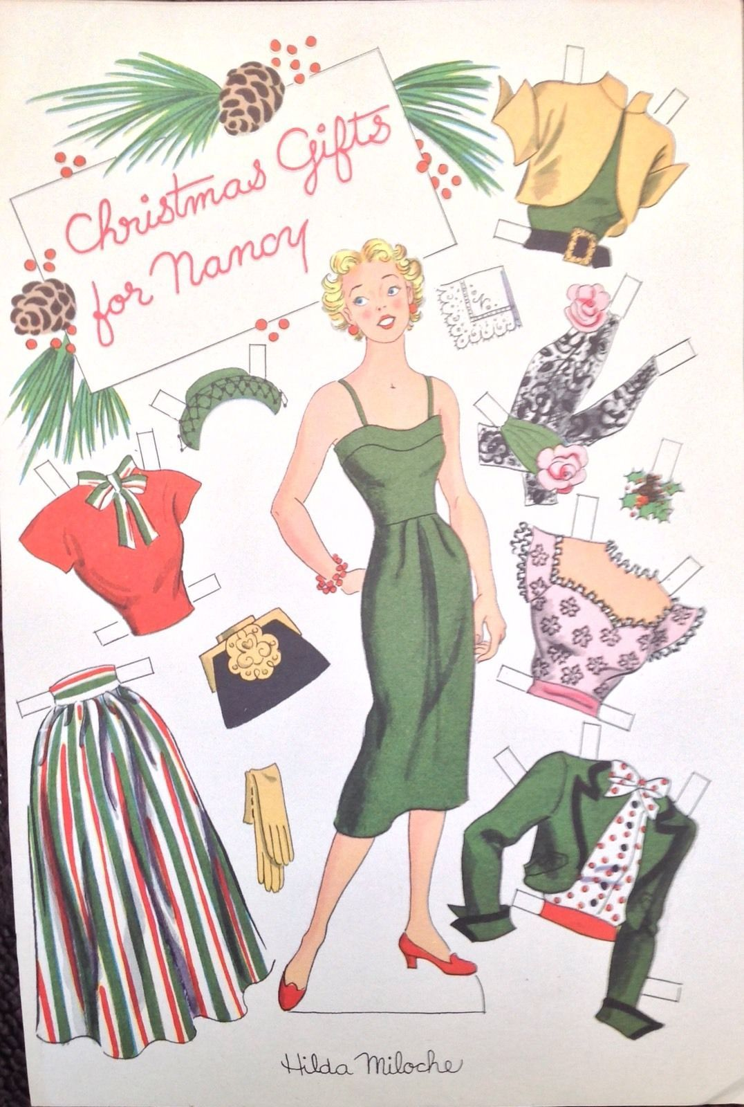 Hilda Miloche Mag Paper Doll Dec 1951 Story Parade Gifts for Nancy | eBay