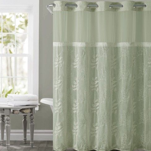 Hookless Palm Leaves Shower Curtain With Liner Moss Target