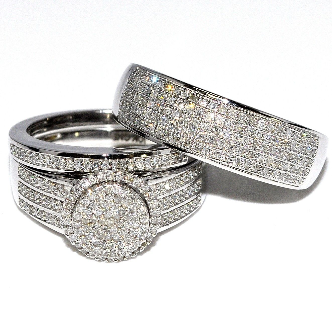 His and Her Rings 0.65cttw 10K White Gold Wide Wedding Set