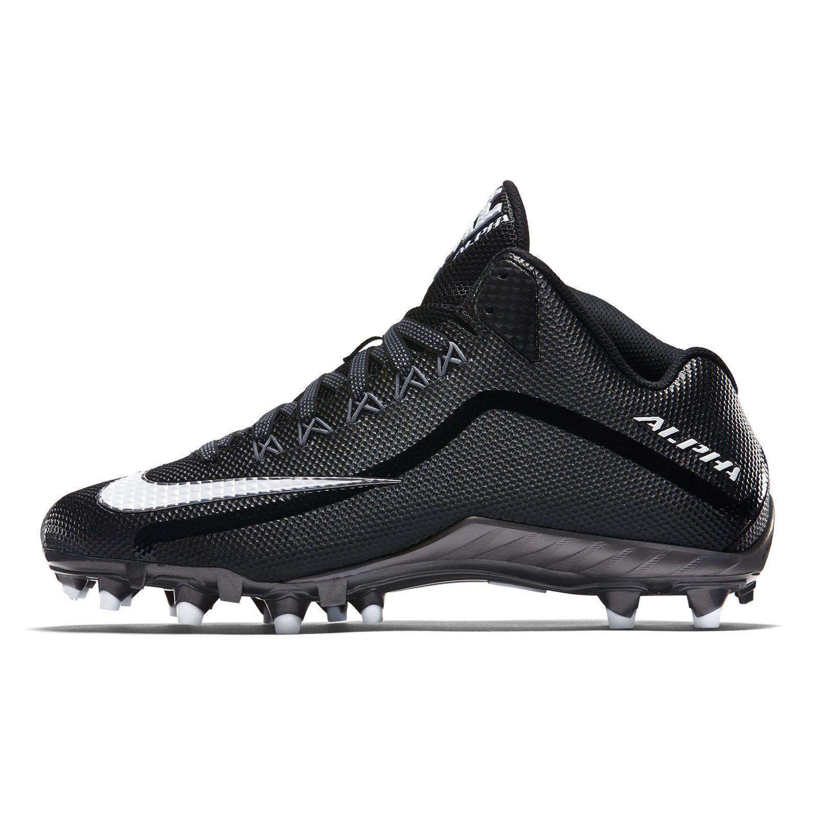New Nike Alpha Pro 2 II 3/4 TD Mid Mens Football Cleats : Black