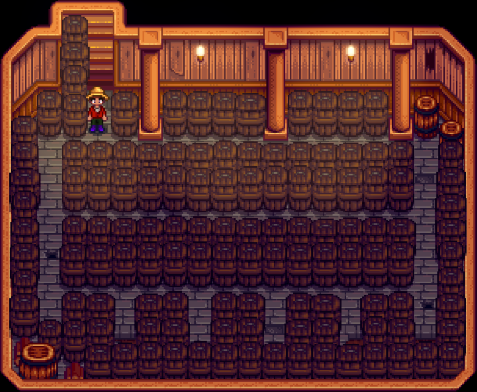Stardew Valley Optimal Cellar Layout for jelly casks