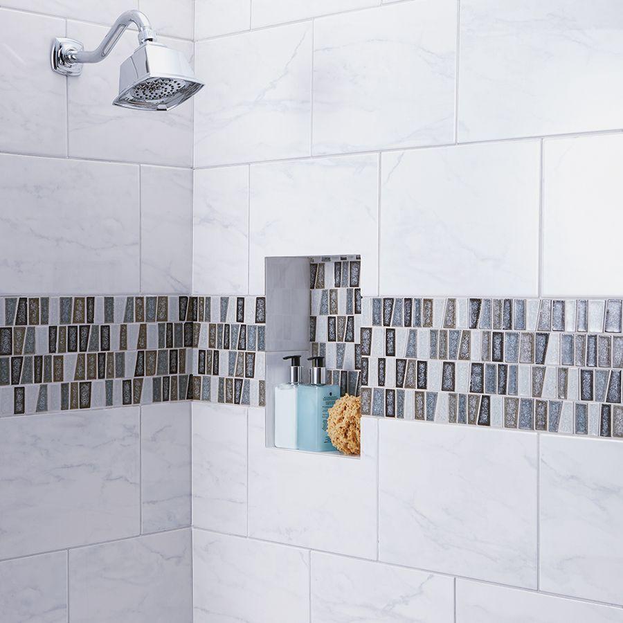 Shop american olean mooreland carrara white ceramic indoor - White ceramic wall tiles bathroom ...