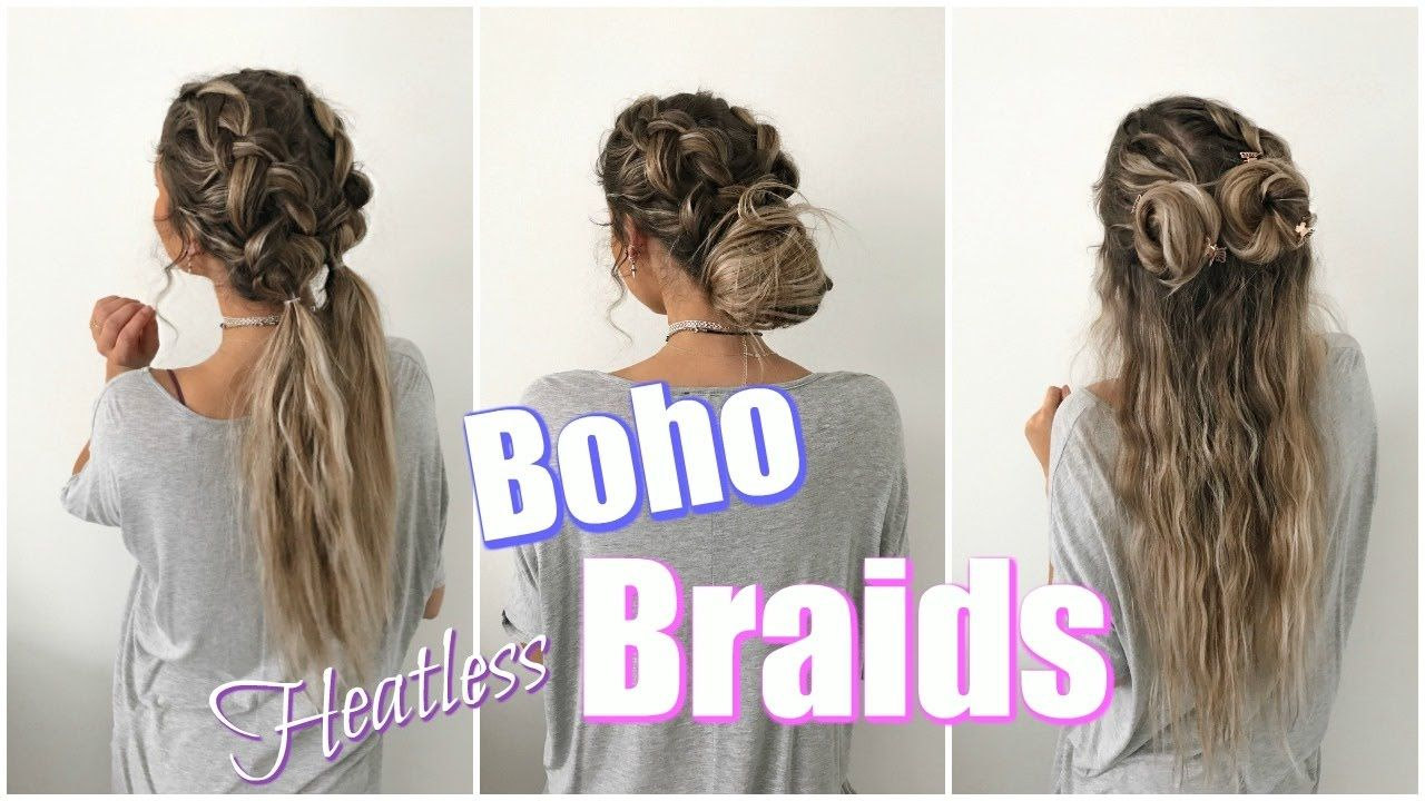Boho Braids Quick Easy Heatless Hairstyles Heatless Hairstyles Easy Hairstyles Quick Hair Styles