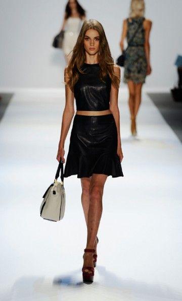 Black leather for spring? Interesting trend. Charlotte Ronson SS13