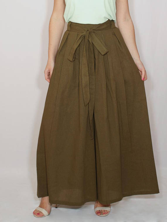 d99009bead5 Khaki pants   Linen palazzo pants   Army green pants