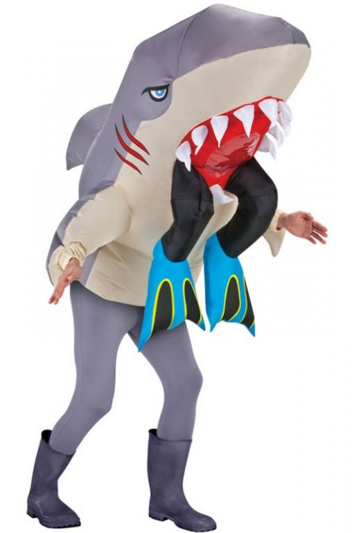 Mens Shark Costume Animal Mascot Fancy Dress Party Cosplay Jaws Adult Bodysuit