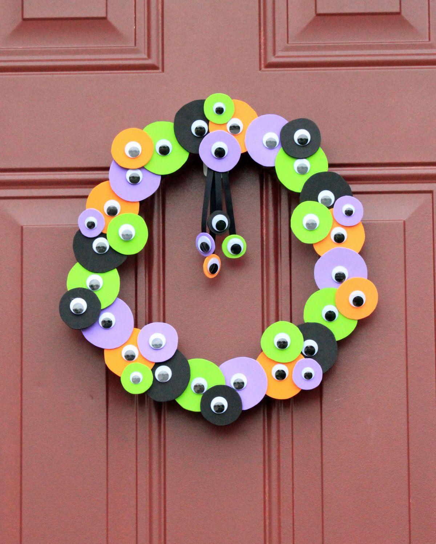 Monster Wreath - Cute Monster Birthday Party Decor - Eye - Halloween - Black, Orange, Purple, Green