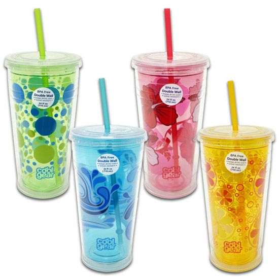 Cool Gear double walled cups with straw, can find at Walmart or other department stores, great product, little to no condensation with iced fluids, absolutely love the fun designs too! Some come with a vinyl grip as well :-)