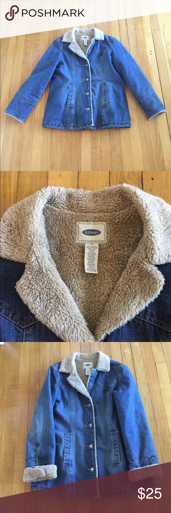 Denim coat This fur lined denim coat is a must for a casual night out during those cold winter nights. Great condition! Old Navy Jackets & Coats Jean Jackets