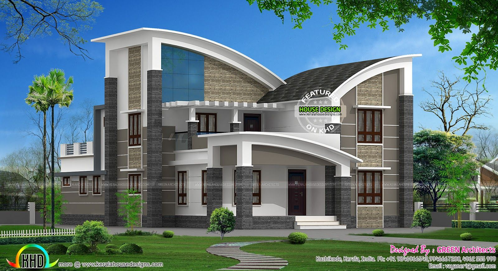 Modern style curved roof villa home inspiration for Home designs kerala architects