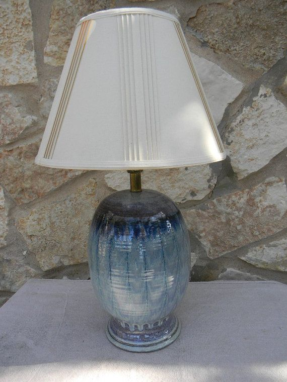 Vintage Hand Made Pottery Table Lamp Blue Drip Glaze Signed | I love