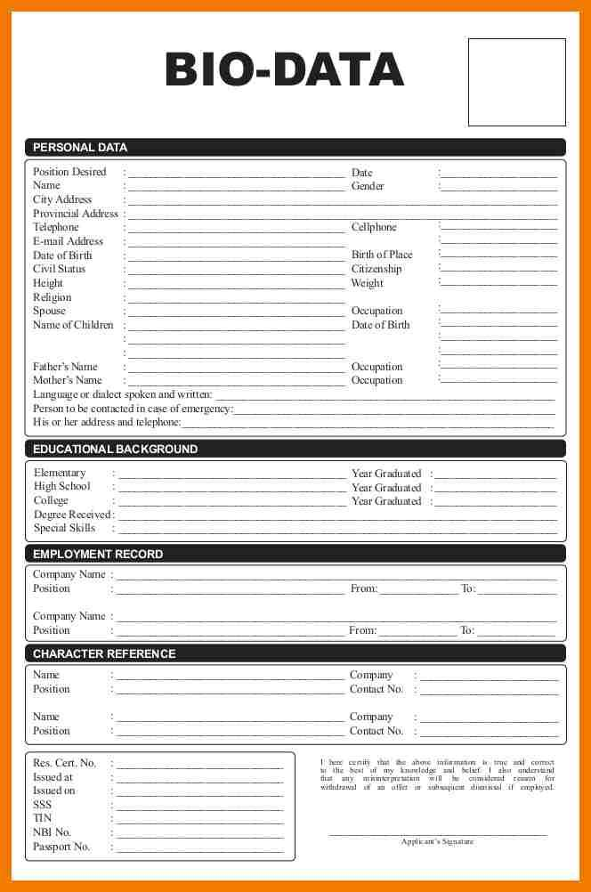 Biodata Format For Student  Mailroom Clerk  Data Form