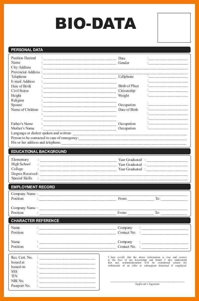 Biodata Format For Student  Mailroom Clerk  Fonts