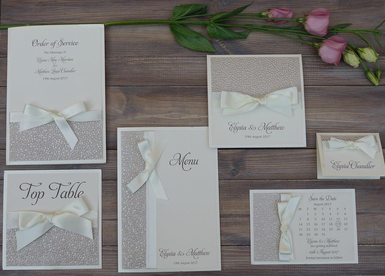 Luxury handmade wedding invitation and stationery set with stunning ...