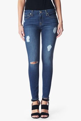 7 For All Mankind Woman Distressed Faded Mid-rise Skinny Jeans Dark Denim Size 25 7 For All Mankind d7TXu