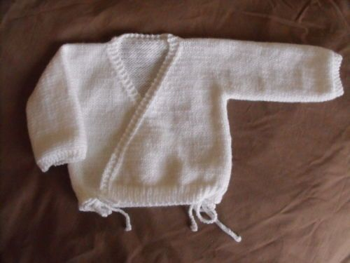 Newborn Baby Wrap Crossover Cardigan Knitting Pattern Knit 1