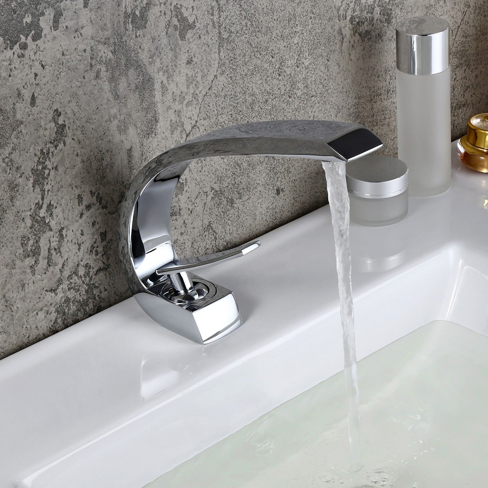 Modern Single Hole 6-Handle C-Shaped Curved Spout Bathroom Sink
