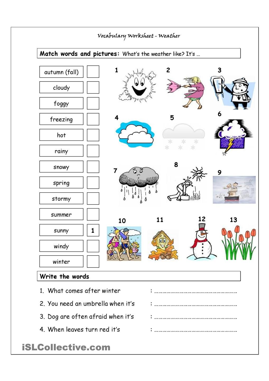 Worksheets Vocabulary Matching Worksheet vocabulary matching worksheet weather teachers pinterest weather