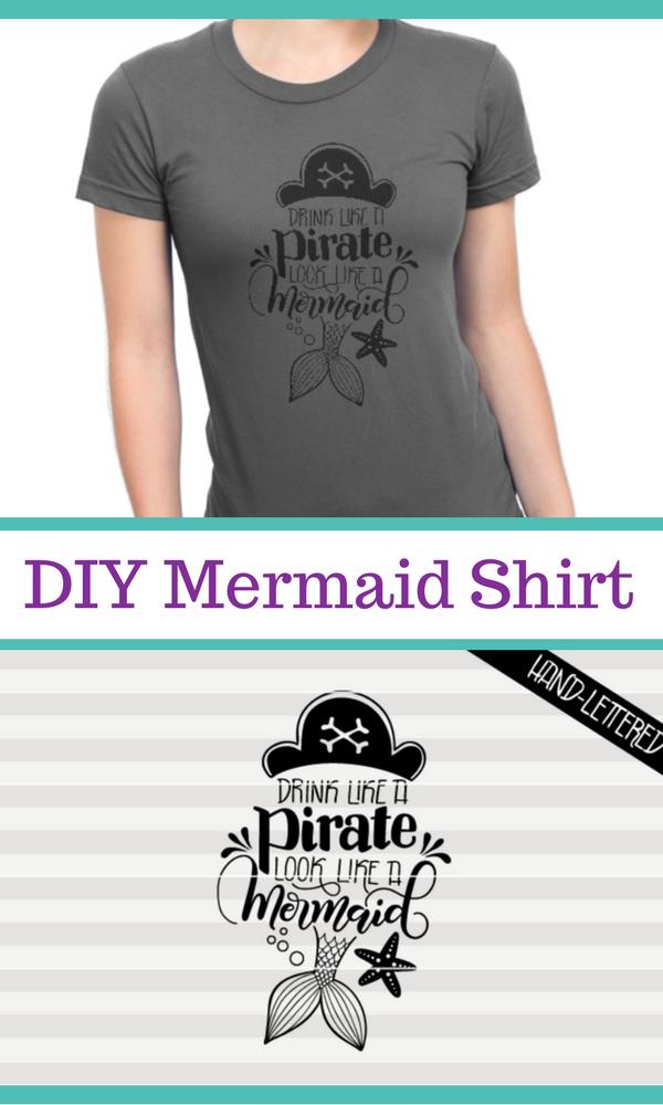 Diy Mermaid Shirt Cricut Project Idea Drink Like A Pirate Look Like A Mermaid Svg Pdf Dxf Hand Drawn Let Mermaid Svg How To Draw Hands Mermaid Diy