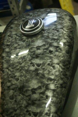 Harley Fuel Tank In Reaper Black Motorcycle Paint Jobs Custom Paint Motorcycle Motorcycle Painting