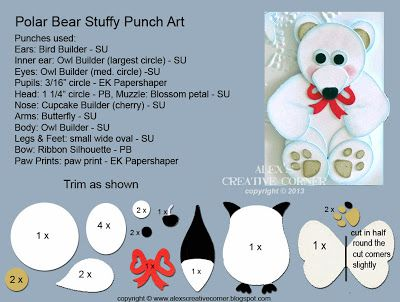 Alexs Creative Corner: Polar bear stuffy punch art instructions #beartoy