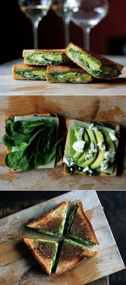 Mozzarella, Baby Spinach, Avocado Grilled Cheese Sandwich - -Pesto, Mozzarella, Baby Spinach, Avoca