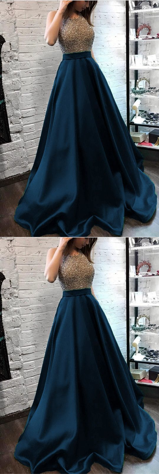 Sparkly beaded halter long satin evening gowns open back prom